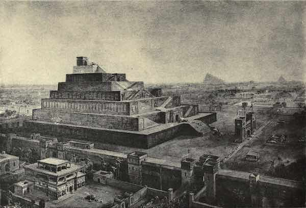 """Ancient Babylon """"The Walls of Babylon and the Temple of Bel (Or Babel)"""", by 19th-century illustrator William Simpson – influenced by early archaeological investigations."""