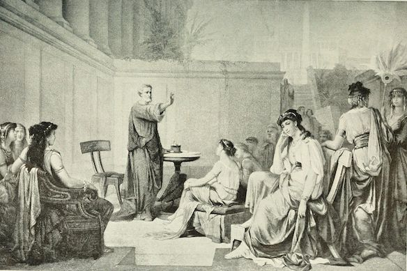 Illustration from 1913 showing Pythagoras teaching a class of women. Many prominent members of his school were women